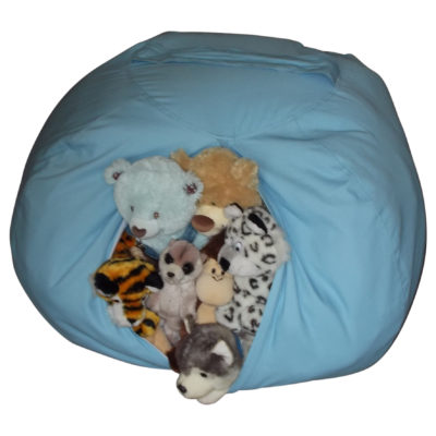 Extra Large Stuffed Animal Storage Bean Bag Chair (Blue)